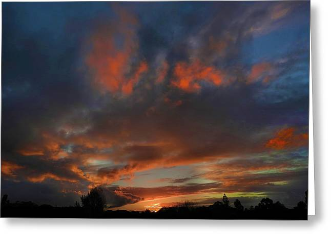 Greeting Card featuring the photograph Contorted Sunset by Mark Blauhoefer