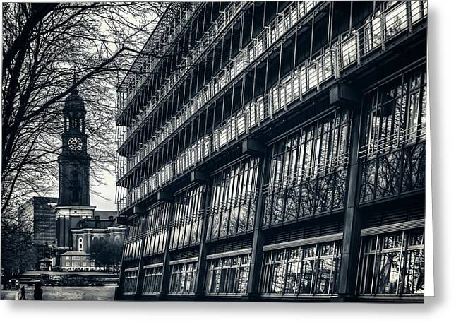 Contrasting Architecture Of Hamburg  Greeting Card by Carol Japp