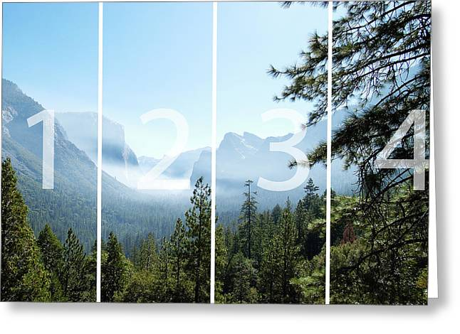 Controlled Burn Of Yosemite Panoramic Map Greeting Card by Michael Bessler
