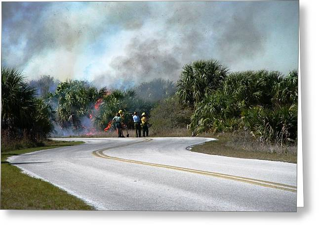 Controlled Burn Greeting Card by Peter  McIntosh