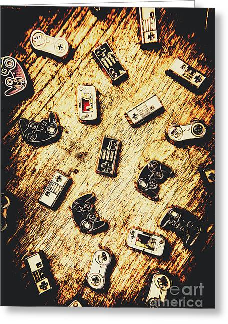 Controllers Of Retro Gaming Greeting Card by Jorgo Photography - Wall Art Gallery