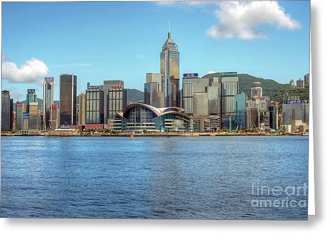 Convention Centre From Hong Kong Harbour Greeting Card
