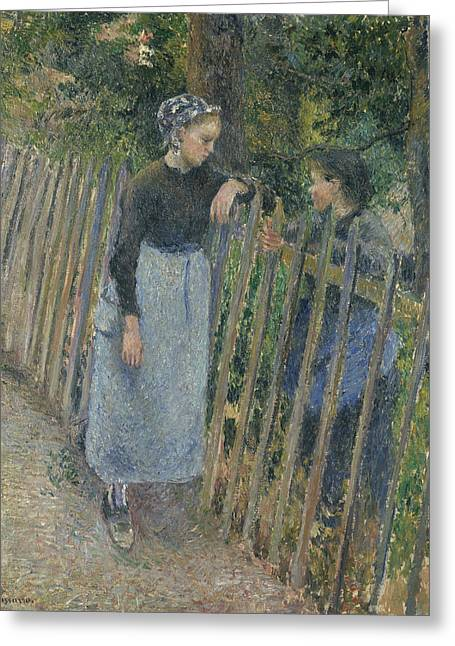 Conversation Greeting Card by Camille Pissarro