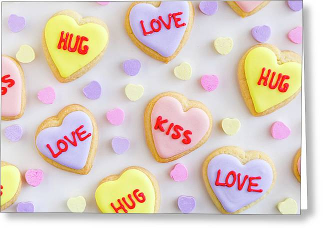 Greeting Card featuring the photograph Conversation Heart Cookie Love by Teri Virbickis