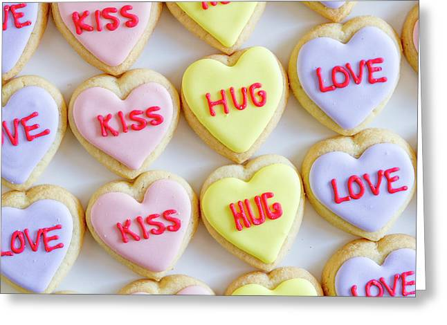 Greeting Card featuring the photograph Conversation Heart Decorated Cookies by Teri Virbickis