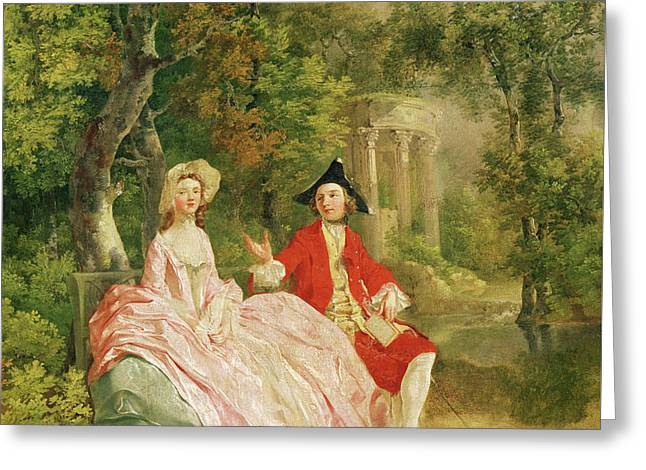 Conversation In A Park Greeting Card by Thomas Gainsborough