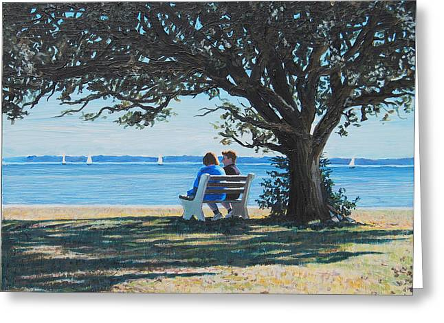 Conversation In The Park Greeting Card