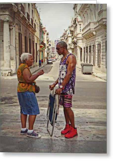 Conversation On The Prado, Havana Greeting Card by Cheryl Kurman
