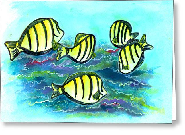 Convict Tang Fish #209 Greeting Card by Donald k Hall