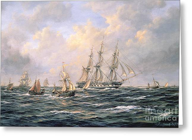 Yachting Greeting Cards - Convoy of East Indiamen amid Fishing Boats Greeting Card by Richard Willis