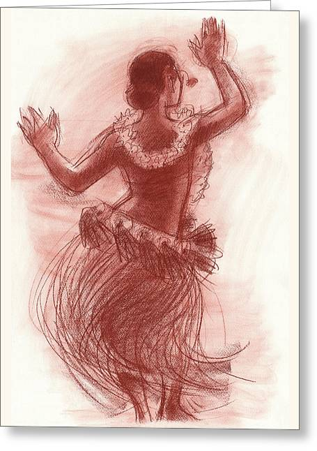 Cook Islands Drum Dancer From The Back Greeting Card