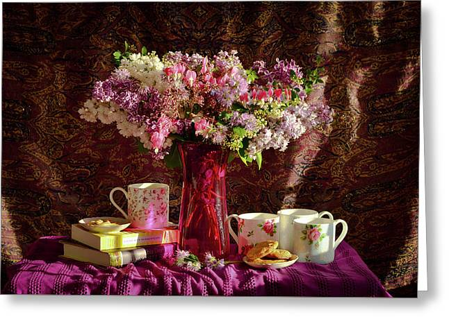 Cookies, Coffee And Comfort Greeting Card by Wendy Blomseth