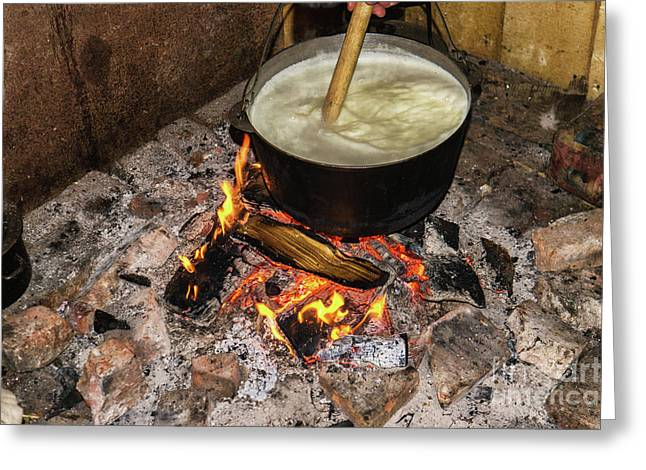 Cooking Fires In A Black Iron Pot Greeting Card