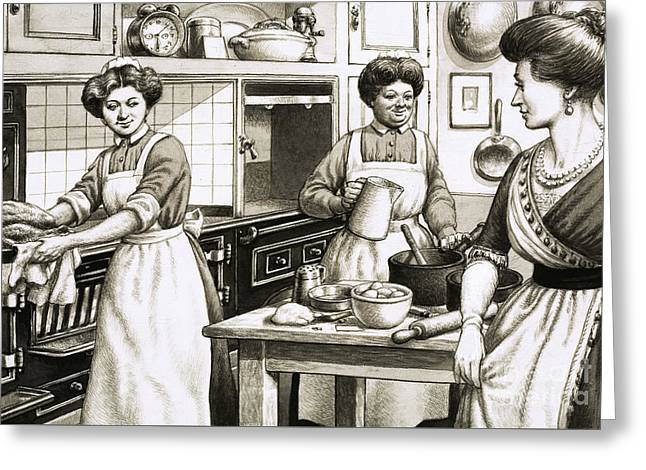 Cooking In Edwardian Times Greeting Card