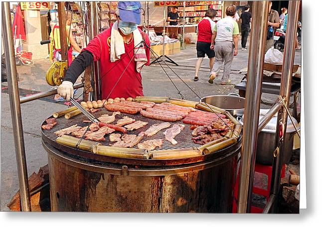 Greeting Card featuring the photograph Cooking Meat And Eggs On A Huge Grill by Yali Shi