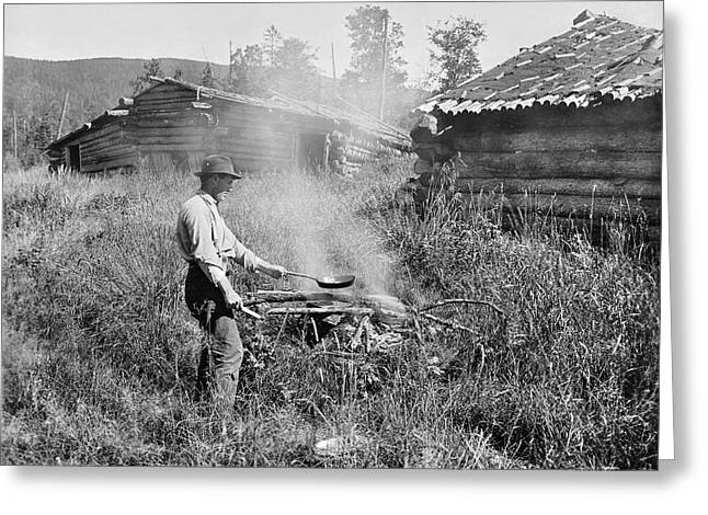 Cooking Over A Campfire Greeting Card by Underwood Archives