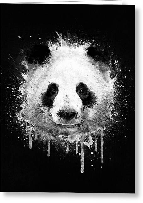 Cool Abstract Graffiti Watercolor Panda Portrait In Black And White  Greeting Card