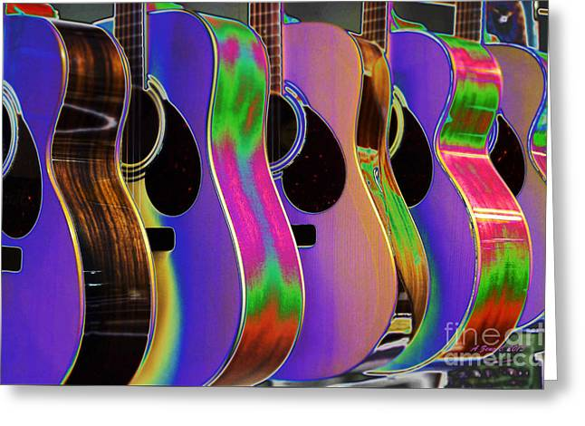 Cool Acoustic Guitars Greeting Card