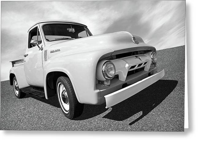 Cool As Ice - 1954 Ford F-100 In Black And White Greeting Card by Gill Billington