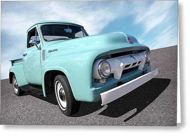 Cool As Ice - 1954 Ford F-100 Glacier Blue Greeting Card by Gill Billington