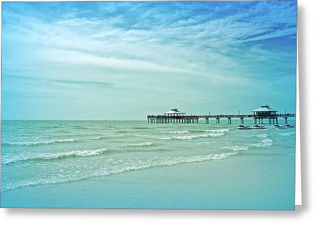 Cool Blue Fort Myers Pier Greeting Card