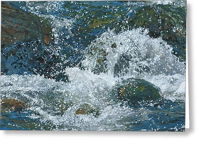 Greeting Card featuring the painting Cool Blue by Nadi Spencer
