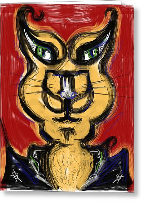 Gold Jacket Greeting Cards - Cool Cat Greeting Card by Russell Pierce