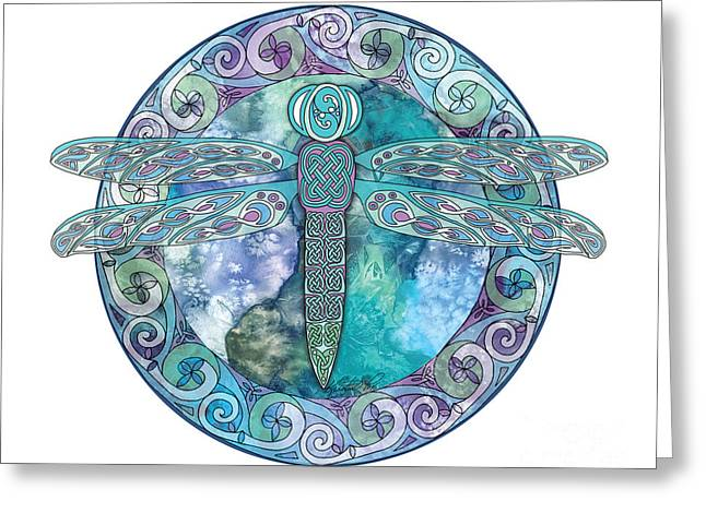 Greeting Card featuring the mixed media Cool Celtic Dragonfly by Kristen Fox