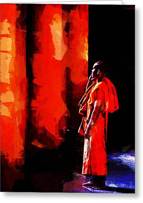 Cool Orange Monk Greeting Card by Cameron Wood