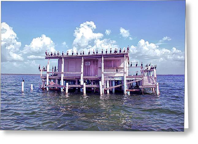 Cool Sunset No Vacancy At The Stilt House Greeting Card