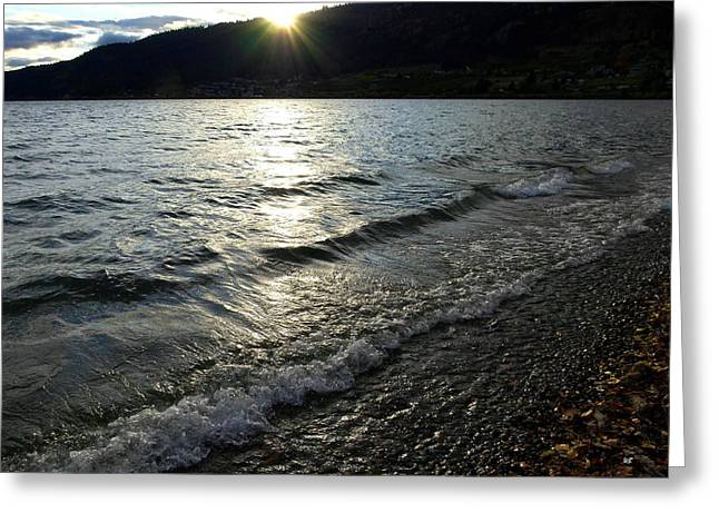 Cool Waters Sunset Greeting Card
