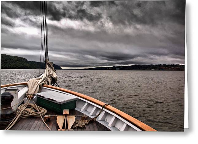 Valerie Morrison Greeting Cards - Cool Winds On the Hudson Greeting Card by Valerie Morrison