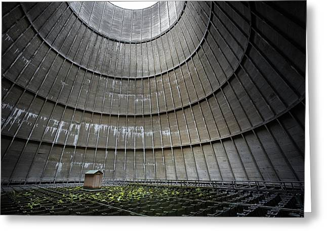 Greeting Card featuring the photograph Cooling Tower Secret Little House by Dirk Ercken