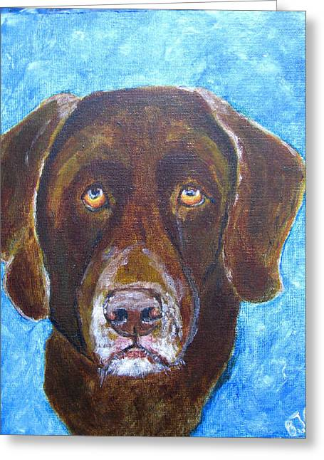 Greeting Card featuring the painting Cooper 3 by Barbara Giordano