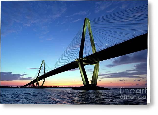 Carolina Greeting Cards - Cooper River Bridge Charleston SC Greeting Card by Dustin K Ryan