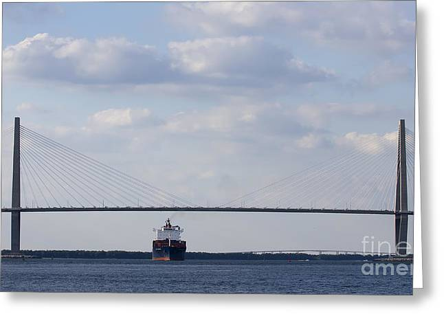 Cooper River Bridge Container Ship Charleston Greeting Card by Dustin K Ryan