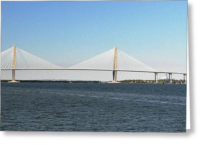 Cooper River Bridge Greeting Card by John Black