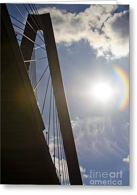 Cooper River Bridge Lens Flair Greeting Card by Dustin K Ryan