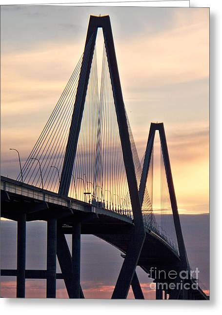 Cooper River Bridge Greeting Card by Melanie Snipes