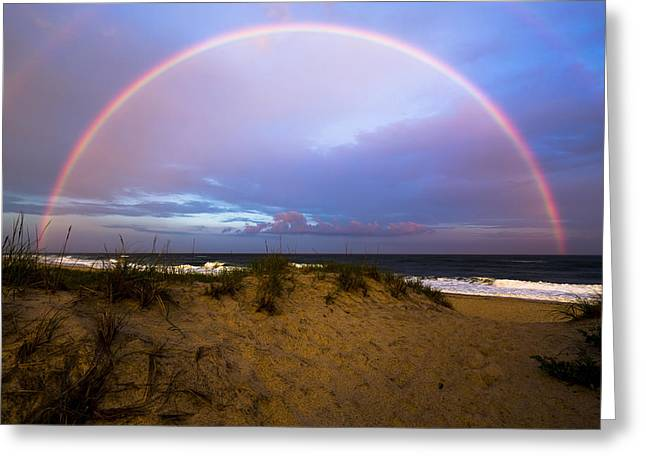 Coopers Beach Full Rainbow Greeting Card by Ryan Moore