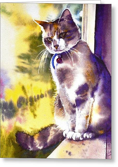 Coops The Cat Greeting Card by Sandra Phryce-Jones