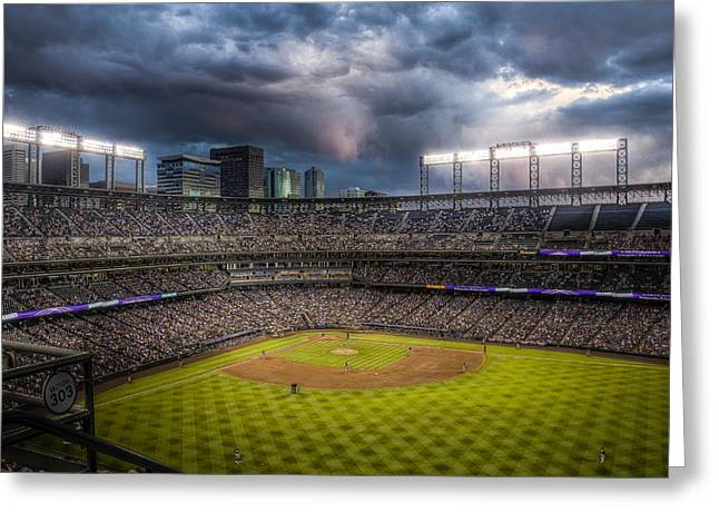 Coors Greeting Cards - Coors Field Mood Greeting Card by Jessica Brooks