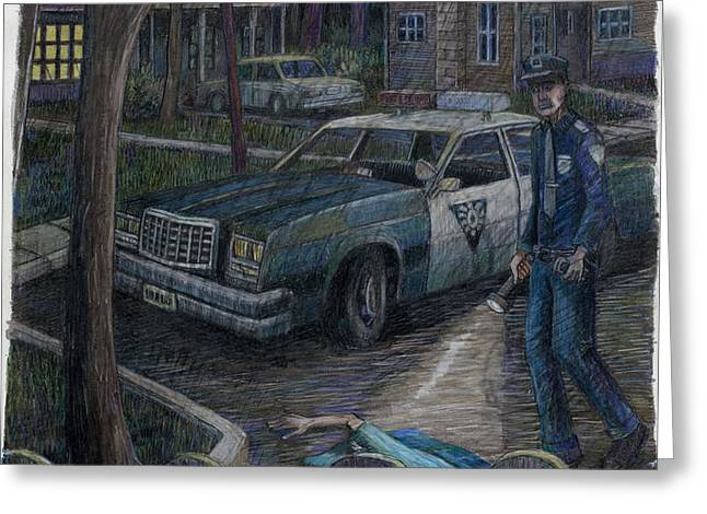 Cop At Night Greeting Card by Clifford Elgin