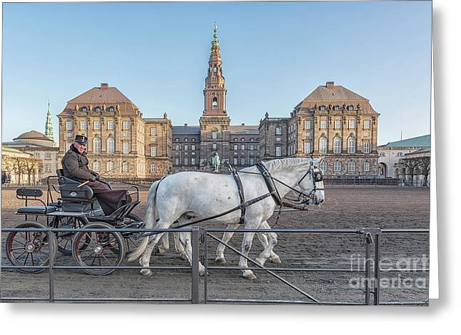 Greeting Card featuring the photograph Copenhagen Christianborg Palace Horse And Cart by Antony McAulay