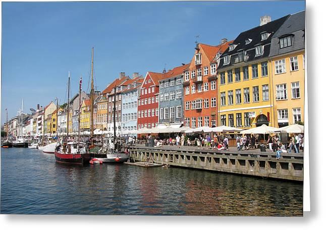 Copenhagen Harbor Greeting Card by Mary Lane