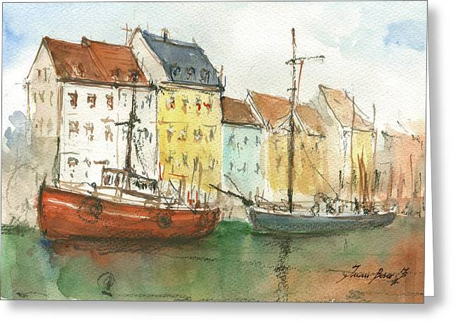 Copenhagen Harbour With Boats Greeting Card