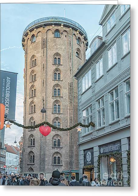 Greeting Card featuring the photograph Copenhagen Round Tower Street View by Antony McAulay