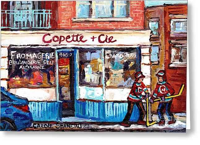 Copette Et Cie Fromagerie Charcuterie Verdun Montreal Storefront Winter Hockey Art Carole Spandau    Greeting Card