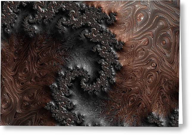 Copper And Steel Embossed Spiral Abstract Greeting Card by Marianna Mills