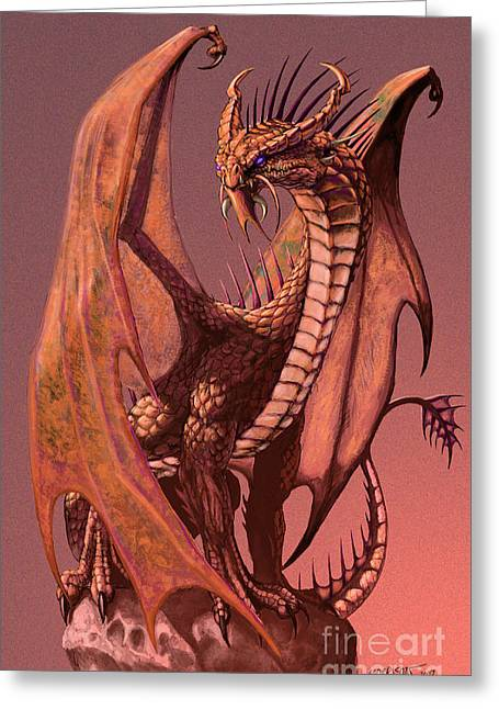 Copper Dragon Greeting Card by Stanley Morrison
